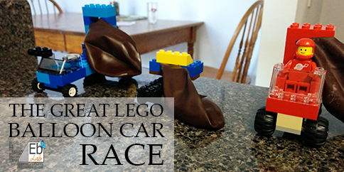 The contenders in the Great Lego Balloon Car Race!