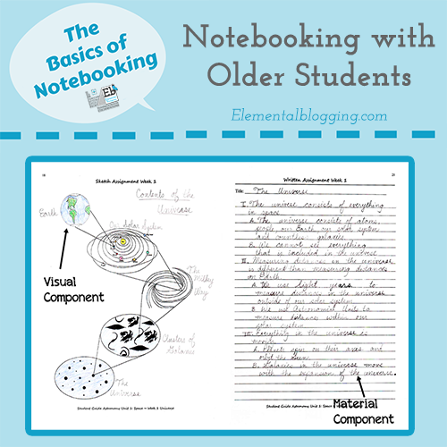 The Basics of Notebooking - what notebooking looks like for older students | Elemental Blogging